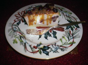 Cranberry Caramel Pear Cheesecake